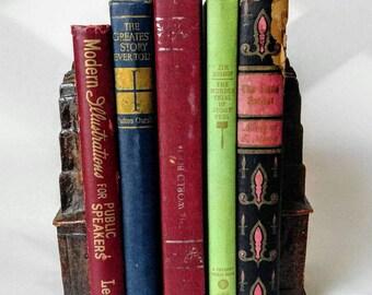 Vintage set of 5 old decor books, bookshelf decor, 1940 books, coffee table books, library decor, office decor