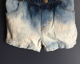 size 12 months, repurposed baby jean shorts, bleached distressed