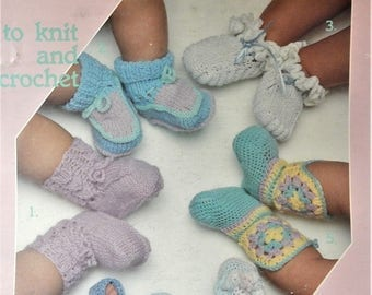 1985 Leisure Arts Leaflet 377 BABY BOOTIES to knit and crochet six designs