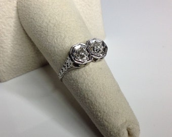 Estate Antique Art Deco 18K White Gold 0.90 CTW Diamond Engagement Ring Size 6.5