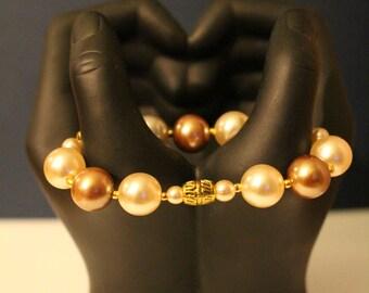 Bracelet African woman, cream Bracelet, bracelet ethnic, weight Baoulé, sitting Bracelet, beaded Bracelet, chocolate Bracelet