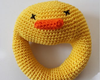 Duck crochet rattle, round rattle crochet, amigurumi rattle duck baby toy