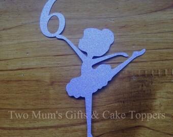 Personalised Custom Ballerina Birthday Cake Topper - Ballerina holding age - Cake Smash Topper - Ballerina Cake Topper - Age Cake Topper -