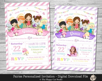 Fairy Invitation, Personalized, Printable, Any Age, 1st First Birthday Party, Invites, Digital Print Download File, Fairies, Rainbow, Girls