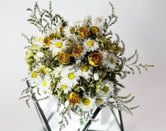 Swan Lake Bridal Bouquet / Posy | White, Yellow, Pink | Wedding Flowers | Dried Flowers
