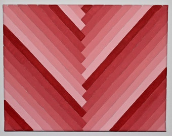 Red Diagonal Monochromatic Gradient Painting