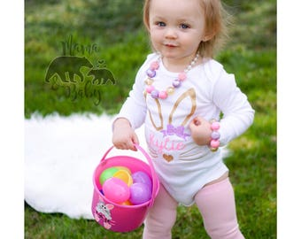 Baby Girl's Personalized Easter Bunny Onesie , Toddler Easter, Easter Outfit, Headband, Happy Easter, My First Easter Onesie, Easter Shirt