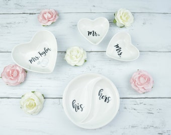 Personalized Ring Dish | His/Hers | Mr/Mrs | Last Name | Wedding/Anniversary Gift