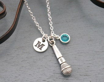 Microphone Necklace, Personalized Microphone Necklace, Silver Microphone Necklace, Initial Necklace, Singer Necklace, Singer Gifts, Custom
