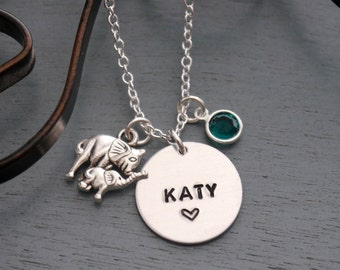 Elephant Name Necklace, Personalized Elephant Necklace, Elephant Necklace, Name Birthstone Necklace, Mommy Baby Gifts, New Baby Gifts