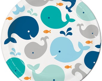 Sweet Whale Large Paper Plates/ Baby Boy Whale Baby Shower Plates/ Whale  Party Plates