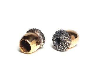 Acorns - Handmade Bronze Bead caps Beads Knife Paracord Lanyard Pair