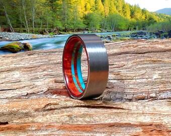 Mens Wood Wedding Band, Fine Mens Ring, Tungsten Wedding Band, Turquoise Band Beautifully Handmade - Waterproof!