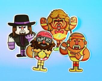 Macho man, Undertaker, Ultimate Warrior, Hulk Hogan, WWF WWE Vinyl Stickers