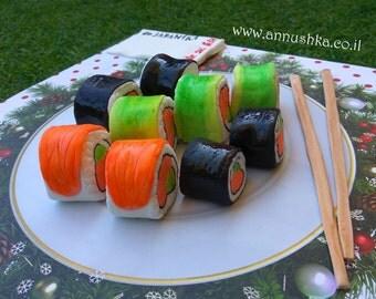 Amazing Fondant sushi decorating elements for your cake!