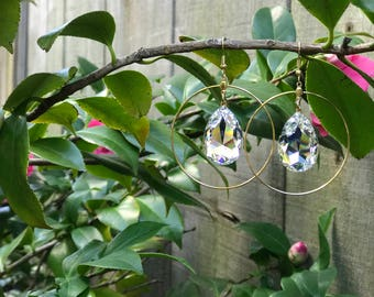 Swarovski crystal and large hoop earrings