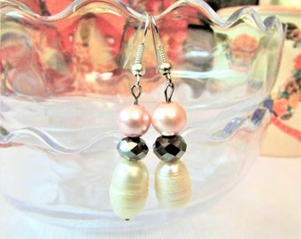 Silver, White, and Pink Genuine Freshwater Pearl Earrings, Dangle and Drop Beaded Earring Hooks, Pearl Jewelry