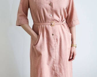 Vintage 50s Knee Length Shirt Dress