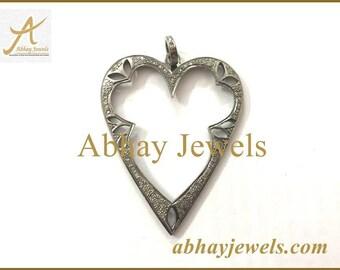 Silver Pave Diamond Big Heart Pendent