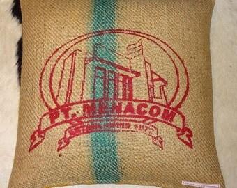 "Pillowcase original coffee bag cushion ""MENACOM"" 50 x 50 cm"