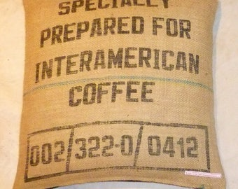 "Coffee bag cover, cushion ""Interamerican Coffee"", 50 x 50 cm"