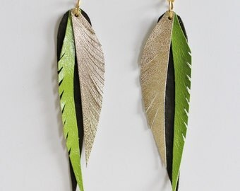 Statement Earrings - Leather Feather Earrings - Leather Earrings - Ready to ship