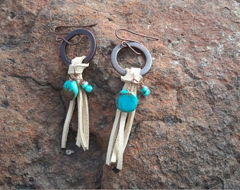 bohemian,western,gypsy leather and turquoise