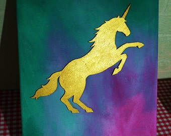Golden Unicorn on canvas - paintings
