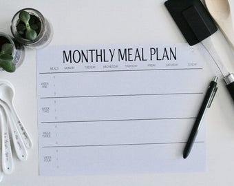 Monthly Meal Planner, breakfast, lunch, dinner (black and white) (printable)