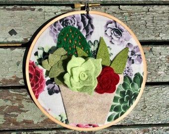 Succulent garden, garden lover, plant hoop art, succulent wall art, cactus wall decor, succulent decor, felt hoop art cute succulent