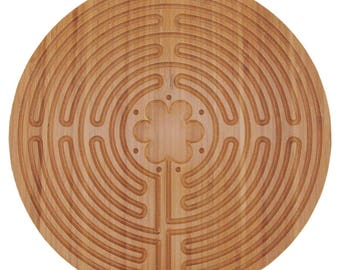 "Bamboo Wood Finger Labyrinth Prayer Maze 12.5"" Diameter Chartres Style"