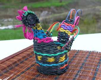 Wicker rooster Stand for bottle Basket for napkins Willow item Handwoven rooster  Farmhouse rustic Basket purse Home decor Gift