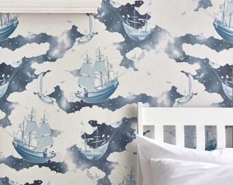 FISHING FOR STARS Midnight Blue Wallpaper 10 Meter Roll