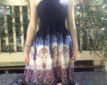 Elephant/Flower Print Halter Top Rayon Dress