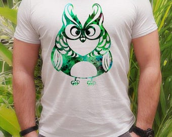 Green owl t-shirt - Owl tee - Fashion men's apparel - Colorful printed tee - Gift Idea
