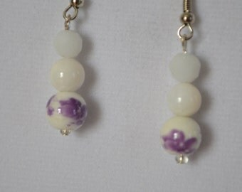 Sweet Lavender and White Earrings