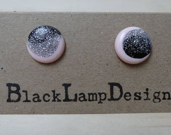 Round Stud Earrings in Pink Black and Silver