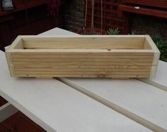 2ft long Window Box/Trough/Garden Planter/Wooden Decking/Herb/Flower 61cm long  -  Shallow Single Width Planter