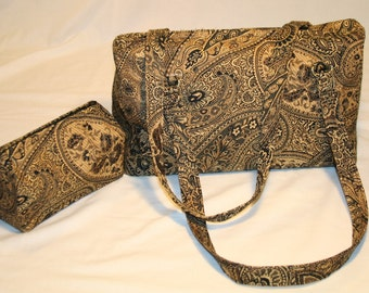 Brown and Gold Paisley Tote Purse with Matching Makeup Bag
