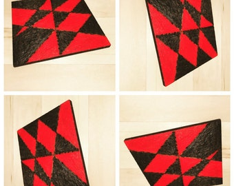 Black Red Triangle Coasters