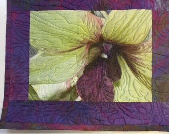 Chartreus and purple silk art wall quilt
