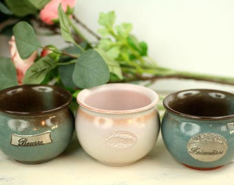 3 vintage pots – ceramic bowls – dish – beurre and friandises – Clos St Lambert – glazed earthenware – French country kitchen – shabby chic