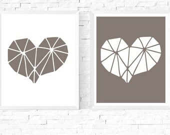 50% OFF Sale - Geometric Heart Art Printables 2 Set | White and Grey | Abstract Art | Modern Art | Minimalist | Hygge | Scandinavian | Gray
