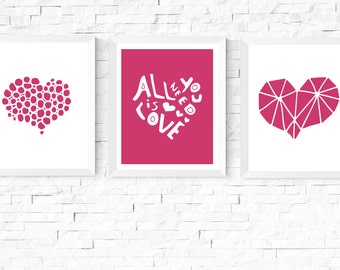 50% Off Sale - Three Hearts Art Printables | Pink Yarrow | 3 Set | Modern Art | Heart | Minimalist | Scandinavian | Couple Art | Hygge