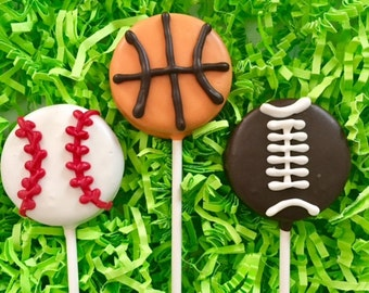 Sports balls Oreo cookie pops / basketball / football / baseball / birthday party favor / kids birthday / one dozen (12)