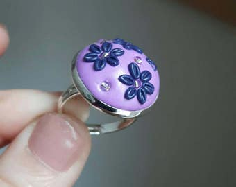 Purple polymer clay ring with flowers