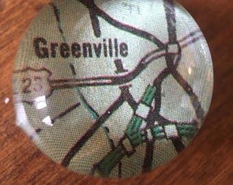 Map Magnet, Greenville SC, New York Magnet, Vintage Map Magnet, Handmade Magnet, South Carolina