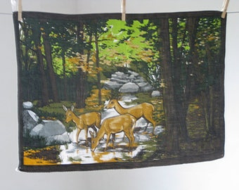 French tea towel, torchon, deer in a forest glade