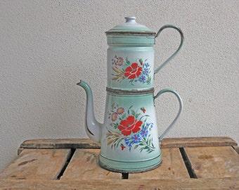 "French enamel coffee pot ""biggin"", antique handpainted green enamelware coffee maker with flowers"