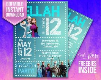 Frozen invitation, Frozen invite, Frozen birthday, Frozen instant download, Frozen party, Frozen editable, Frozen Printable, Frozen